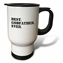 3drose Best Godfather Ever, Gifts for Godparents, Black Text, Stainless Steel Travel Mug, 14-Oz
