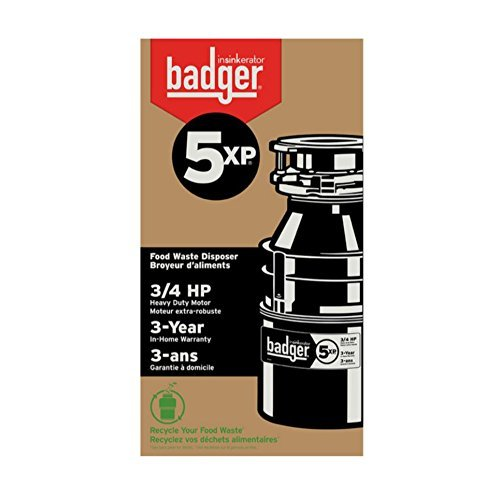 InSinkErator Badger 5XP, 3/4 HP Household Garbage Disposer with Factory-Installed Power Cord
