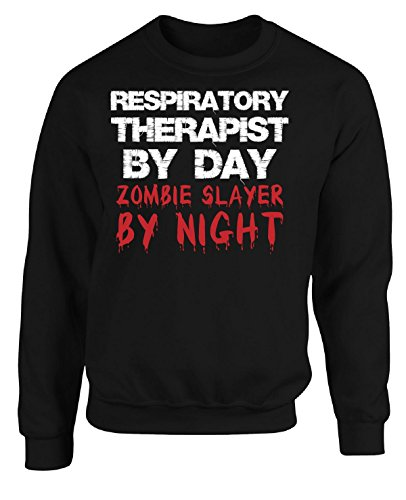 Slayer Christmas Sweater Xl - Respiratory Therapist By Day Zombie Slayer By Night - Adult Sweatshirt Xl Black