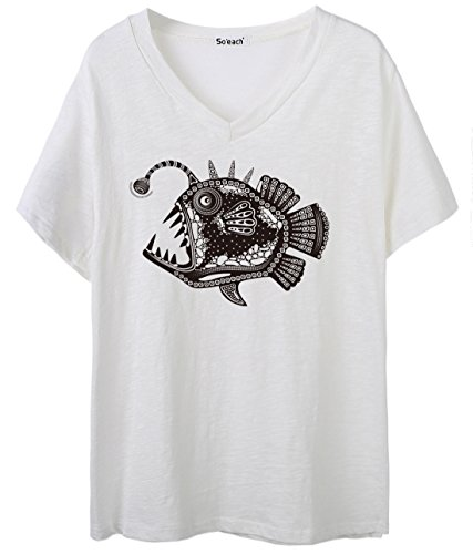 So'each Women's Animal Fish Graphic Print V-Neck Tee T-shirt Ladies Casual Top Blanco