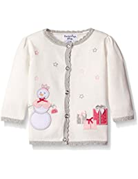Baby-Girls Cotton Cardigan Sweater With Snowman Motif