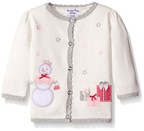 Hartstrings Baby Girls' Cotton Cardigan Sweater with Snowman Motif, Marshmallow, 3-6 Months