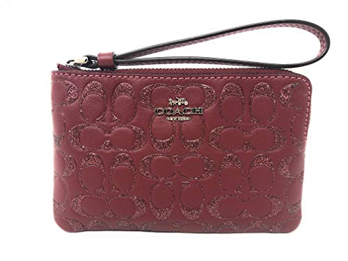 Coach Corner Zip Wristlet Wallet Card Case in Glitter Signature Leather Packaged in a Coach Gift Box F80214 (SV/WINE)