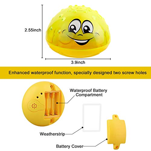 Kimfoxes Baby Bath Toys LED Light Up Bath Toys for Toddlers Kids Water Spray Sprinkler Bathtub Toys for Birthday Gifts (Yellow)