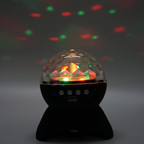 y Bluetooth Speaker Built-in Crystal Ball Colorful LED Stage Lighting Support TF AUX FM Play for Family Squares Parks Party Fashion Gifts ()