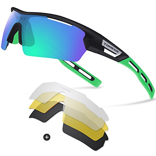 Torege Polarized Sports Sunglasses for Men Women Cycling Running Driving TR033(Black&Green tips&Green - Green Polarized Sunglasses