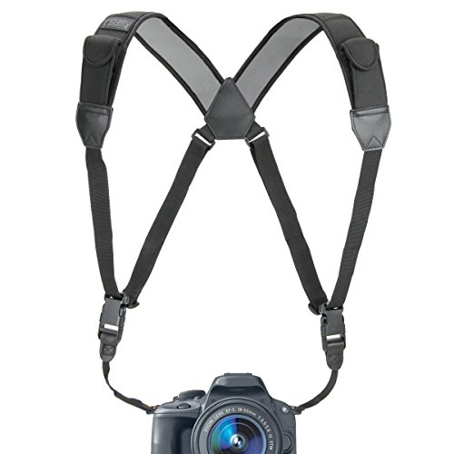 Camera Strap Chest Harness with Comfortable Neoprene and Accessory Pockets by USA GEAR – Works with Canon, Nikon, Fujifilm, Sony and More Bincoulars, DSLR, Point & Shoot, Mirrorless Cameras