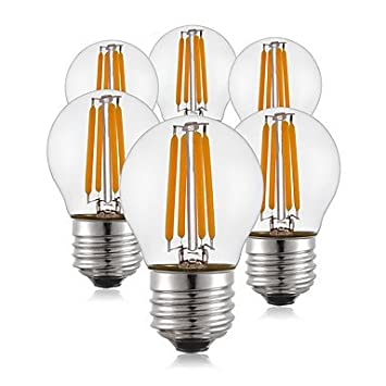 KWB 6pcs 400 lm E26/E27 Bombillas de Filamento LED G45 4 leds COB Blanco Cálido AC 100-240 V: Amazon.es: Hogar