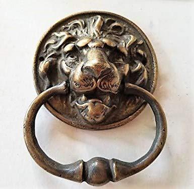 Big Unique Antique Vintage Brass Lion Head Door Knocker