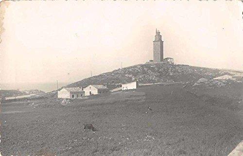 Lighthouse Photo Postcard (La Coruna Spain Torre de Hercules Lighthouse Real Photo Antique Postcard J65700)