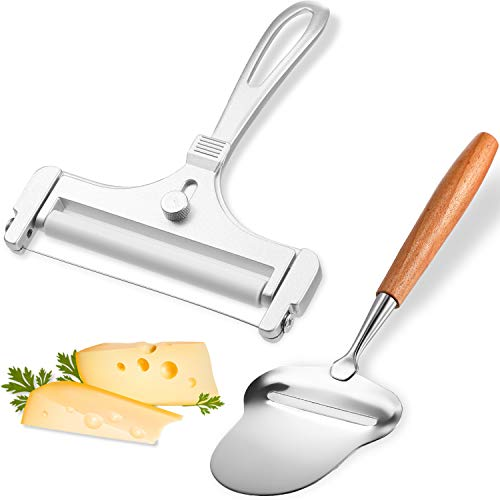 2 Pieces Stainless Steel Wire Cheese Slicer Adjustable Thickness Cheese Cutter, Cheese Slicer Spatula Plane with Wood Handle for Soft, Semi Soft, Semi-Hard Cheeses Kitchen Cooking Tool