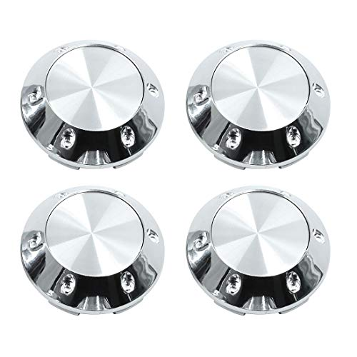 X AUTOHAUX Silver Tone 68mm Car Wheel Tyre Center Hub Caps Cover with Badge Sticker 4pcs