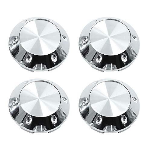 X AUTOHAUX Silver Tone 68mm Car Wheel Tyre Center Hub Caps Cover with Badge Sticker 4pcs