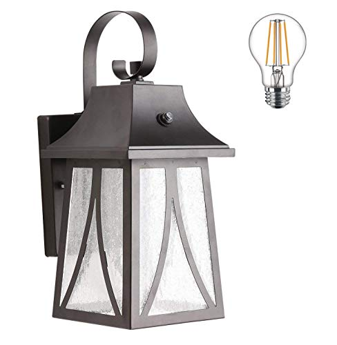 - Cloudy Bay Outdoor Wall Lantern with Dusk to Dawn Photocell Sensor,Includes LED Filament Bulb,Oil Rubbed Bronze