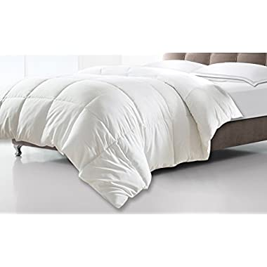 Clara Clark White Goose Down Alternative Comforter Duvet, King/California King, Feather Light and Warm Edition