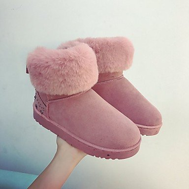Outdoor Blushing Gray Black 5 For US7 Women's Shoes Combat EU38 Fleece 5 Heel Green CN38 Boots UK5 Boots Winter Flat Round Toe RTRY Pink Faw7TqxO