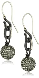 "Deanna Hamro Atelier ""Single Link"" 10mm Pave Ball Drop Earrings"