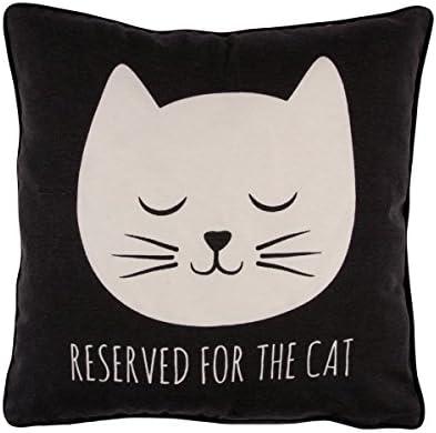 Sass & Belle gato de gato reservado para el gato cojín, 40 x 40 cm (negro)