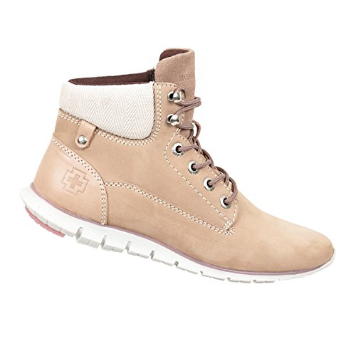 Swissbrand Women's Casual High-Top Lace-Up Boot Pink 6.5 by Swissbrand