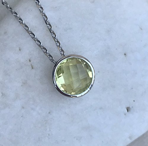 (Lemon Quartz Round Silver Necklace)