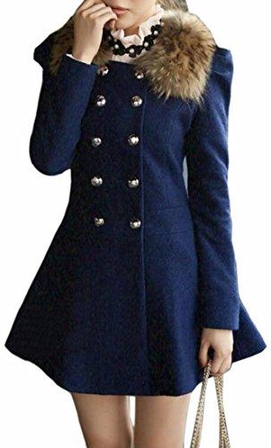 Mid 2 Coat UK Woolen long Faux With today Womens Hood Peplum Solid Fur aAxwZqB