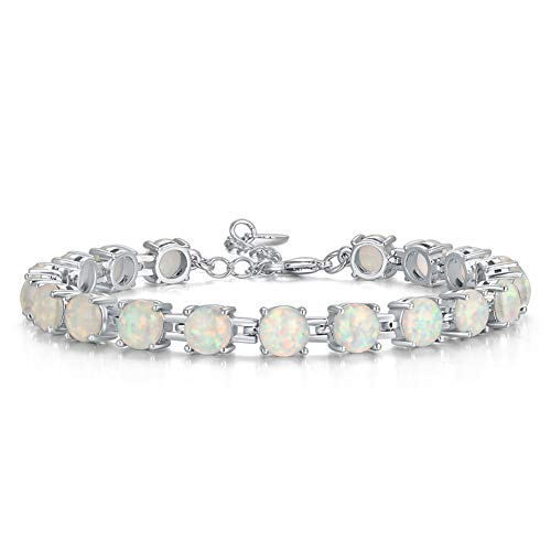 "CiNily Rhodium Plated Created White Fire Opal Women Jewelry Gemstone Bracelet 7""-8 1/2"""