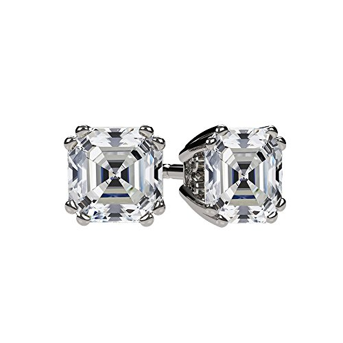 NANA Asscher Cut Swarovski Zirconia Stud Earrings Sterling Silver & Solid 14k Gold Post 0.75cttw-4cttw