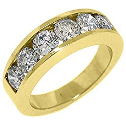 14k Yellow Gold Men's Brilliant Round 6-Stone 2 Carats Diamond Ring