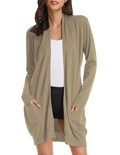 Women's Open Front Knit Long Sleeve Pockets Sweater Cardigan - Cardigan Camel