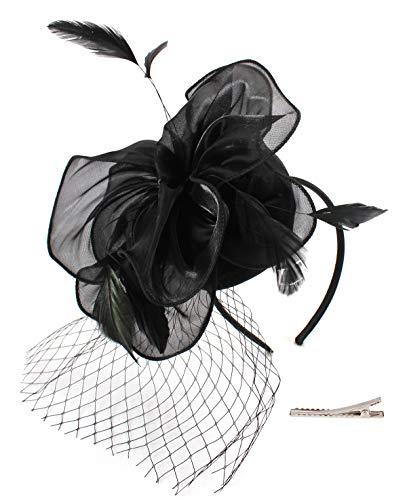 - Felizhouse Flower Feather Fascinator Hats for Women Party Derby W/Headband Clip