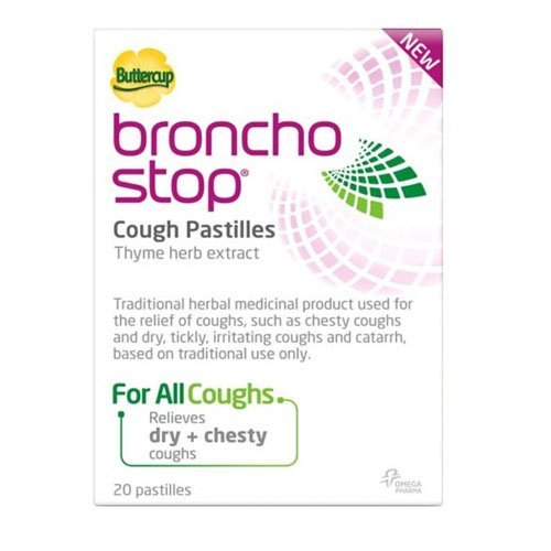 Bronchostop Buttercup Pastilles - Pack of 40 (Best Thing For Tickly Throat)