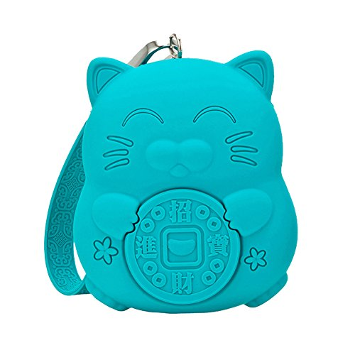 Meta U Squishy Coin Purse   Quality Silicone   Cute Kawaii Lucky Cat   Large Capacity  Turquoise Blue
