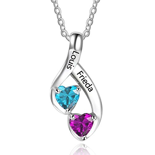 Mother Child Heart Necklace - Love Jewelry Personalized 2 Heart Created Birthstone Mothers Pendant Necklace with 2 Names Family Pendants for Mother (NE101989)