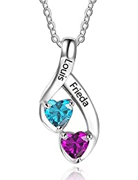 Personalized 2 Heart Simulated Birthstone Mothers Pendant...