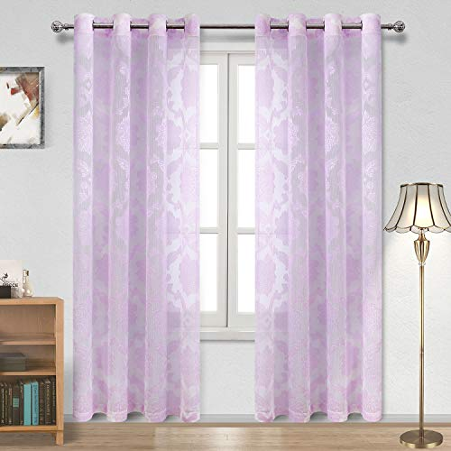 - DWCN Floral Pattern Sheer Curtains - Faux Linen Semi Sheer Voile Bedroom and Living Room Curtains, Purple, 52 W x 84 L inch, Set of 2 Grommet Curtain Panels