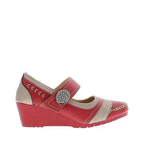 Chaussures femme compensées rouges petit talon de 5cm bride bicolores