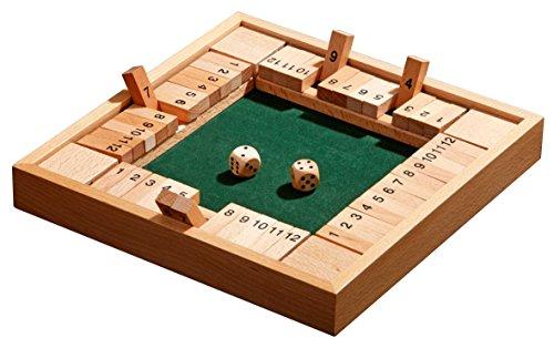 Philos 3281 - Shut The Box 12er, für 1-4 Personen, Würfelspiel, Klappenspiel