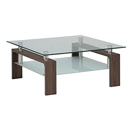 Jofran Compass Glass Square Coffee Table in Chrome and Wood. Amazon com  Jofran Compass Glass Square Coffee Table in Chrome and
