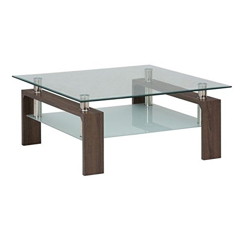 Cheap Jofran Compass Glass Square Coffee Table in Chrome and Wood