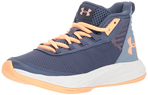 Jordan 5 Women Shoes - Under Armour Girls' Grade School Jet 2018 Basketball Shoe, Utility (500)/Washed Blue, 5