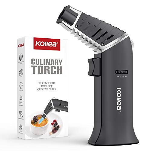 Torch Lighter, Kollea Butane Torch Nozzle 180°Rotatable Cigar Lighter Refillable with Safety Lock, Adjustable Flame for Kitchen, Food, Crème Brulee, BBQ, Baking (Butane Gas not Included)