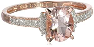Rose Gold Flashed Silver Morganite and Diamond Ring (0.14 Cttw, G-H Color, I2-I3 Clarity), Size 8