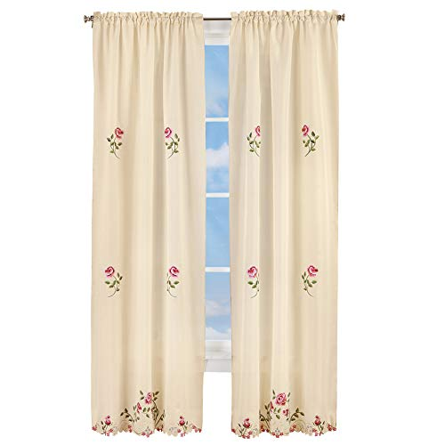 Rose Cottage Embroidery - Collections Etc Elegant Pink Rose Floral Embroidered Curtains Drapes, Ivory, Rose, 84