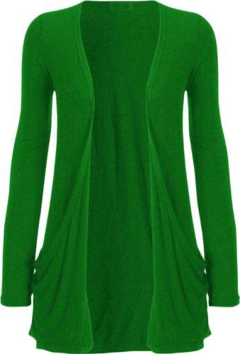 New Ladies Plus tamaño de manga larga Basic Plain Cardigan Top 8-26 Green