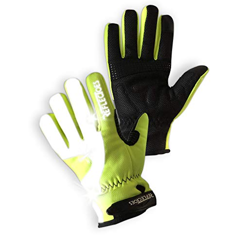 Fluorescent Reflective Winter Gloves - Cycling Running Walking - Waterproof
