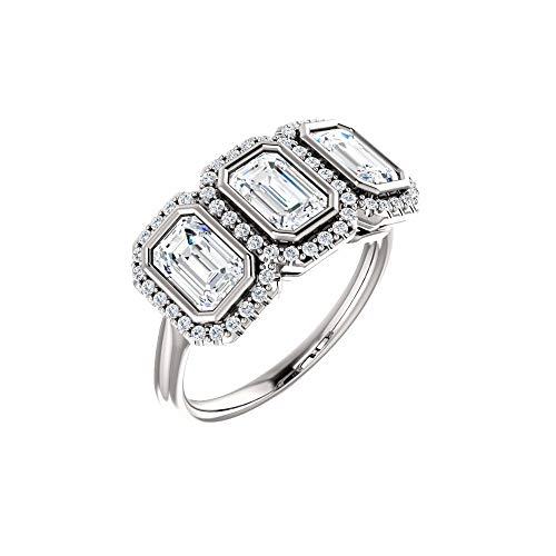 (14k White Gold 1/5 Ct Diamond Semi-Mount 3-Stone Emerald Anniversary Ring (center stones not included))