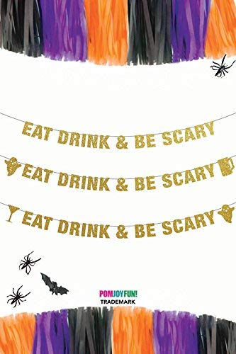 Eat Drink and Be Scary Banner, Halloween Party Banner, Halloween Party Decorations, Halloween Banner, Halloween Wedding -