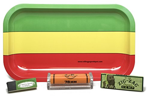 Zig Zag Organic Hemp 1 1/4, 78mm Roller and Quintessential Organic Hemp Tips with Rolling Paper Depot Rolling Tray (Rasta) - 4 Item Bundle by Zig Zag, Rolling Paper Depot
