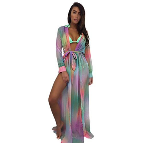 vermers Womens Bikini Cover Up Swimwear Beach Maxi Wrap Skirt Sarong Kimono Kaftan Dress (XL, Multicolor) (Strap Button Belted Dress)