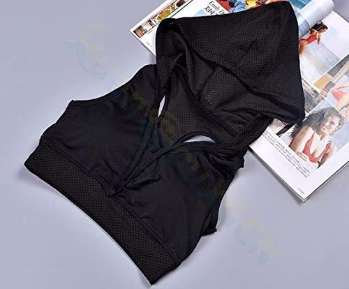 SGYHPL Sommer Frauen Gym Sport Weste Ärmelloses Shirt Fitness Laufbekleidung Tanktops Workout Yoga Unterhemden Quick Dry Tuniken L Kapuzen-BH Schwarz